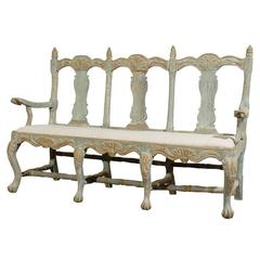 Swedish 18th Century Period Baroque Three-Chair Painted Wood Sofa