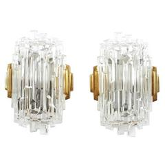 Pair of French Multifaceted Glass Sconces