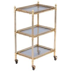 French Mid-Century Brass Three-Tier Bar Cart or Side Table