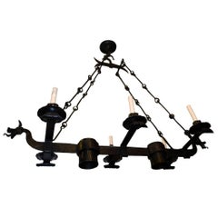 Iron Horizontal Gothic Chandelier with Dragons