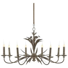 One Pair of Eight-Arm Chandeliers with Grey Zink Finish Mid Century Style