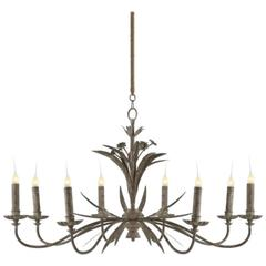 One Pair of Eight-Arm Chandeliers with Grey Zink Finish