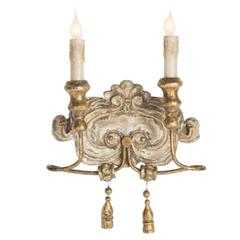 Elegant Set of Six Italian Style Two-Arm Sconces with Lovely Worn Finish