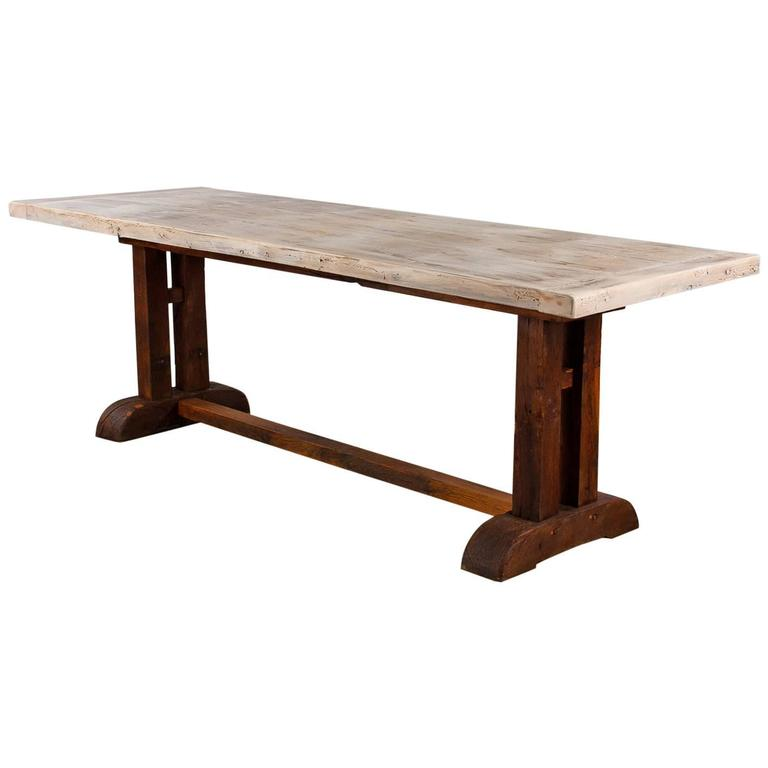 French Country Oak Trestle Table, 19th Century