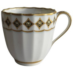 Very Early Derby Porcelain Coffee Cup Pattern 135 Puce Crown and Batons, Ca 1790