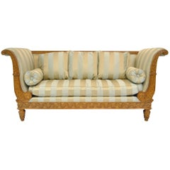 20th Century Regency Double Scrolled Arm Settee with Carved Frame