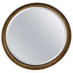 Edwardian Round Wall Mirror with Giltwood Frame Bevel Glass, circa 1900