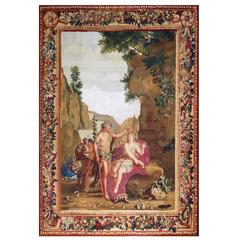 Rare Antique Tapestry Beauvais, 17th Century, Bacchus and Ariane