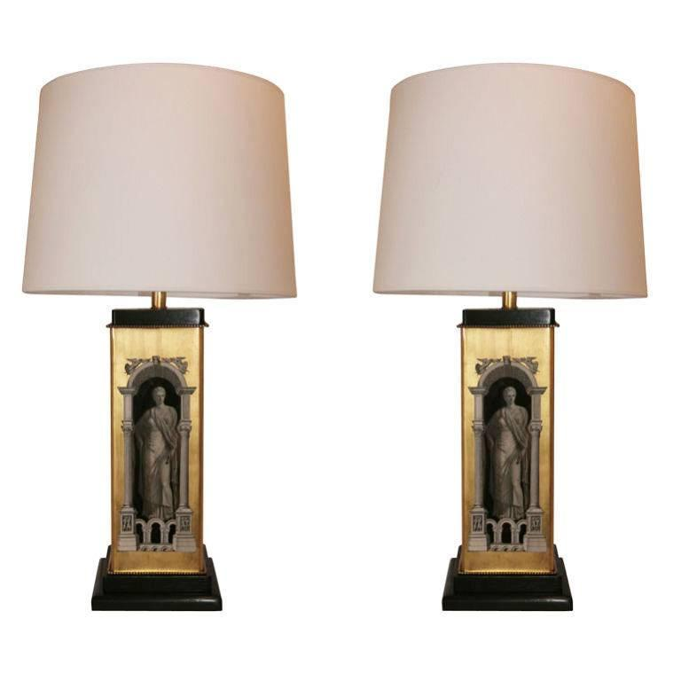 Pair of Classical Modern Lamps, Attributed to Fornasetti For Sale