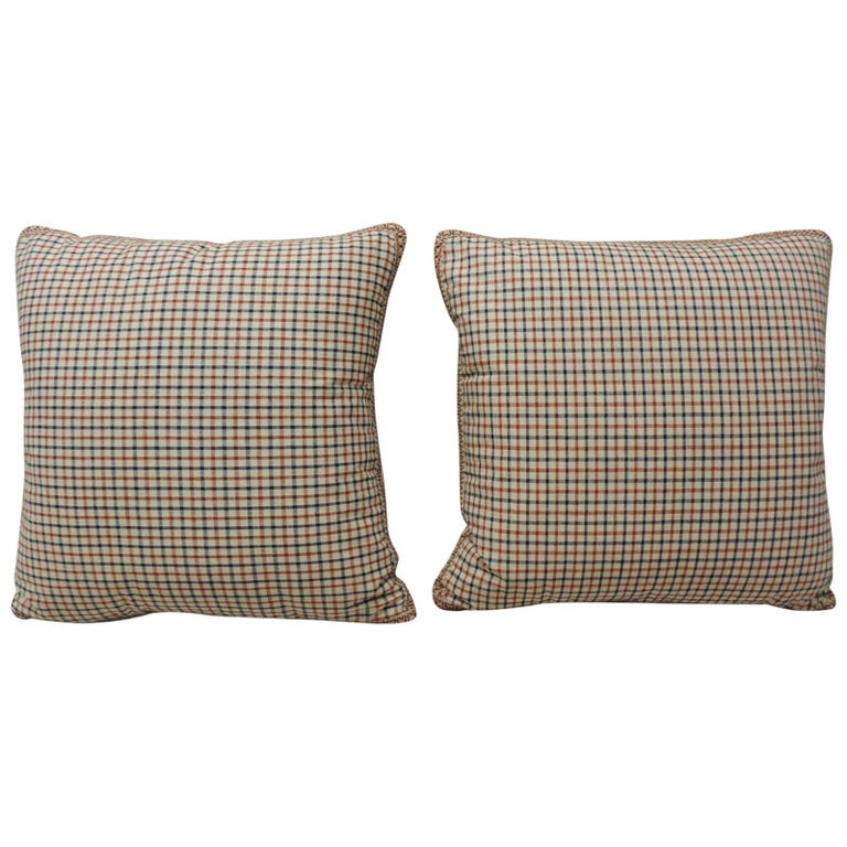 Pair of Vintage French Red and Blue Plaid Decorative Pillows