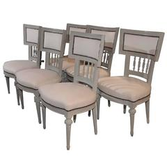 Set of Six Dining Room Chairs Gustavian Period Sweden