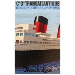 Original 1920s French Line Cruise Ship Poster: Le Havre - Southampton - New York
