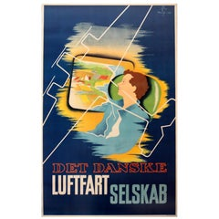 Original 1936 Danish Airlines Advertising Poster, Det Danske Luftfartselskab