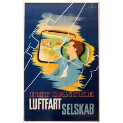 Original 1936 Danish Airlines Advertising Poster, Det Danske Luftfartselskab
