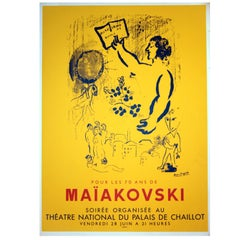 Original Vintage Poster by Marc Chagall for a Vladimir Mayakovksy Poetry Reading