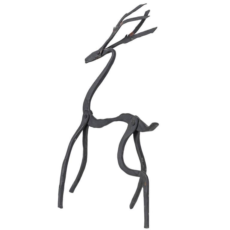 Jean Touret Iron Deer Sculpture for Atelier Marolles, France, 1950s