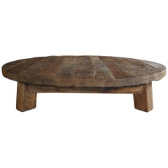 Extremely Large natural cleaned solid oak round Coffee Table / Low Table