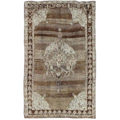 Unique Turkish Kars Carpet in Brown, Gray, Green and Ivory