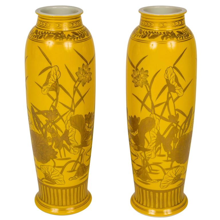 Pair of Yellow Glazed Porcelain Gilt Decorated Vases