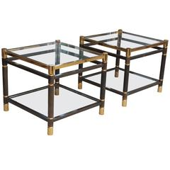 Pair of 1970s Side Tables or End Tables in Steel and Golden Plate