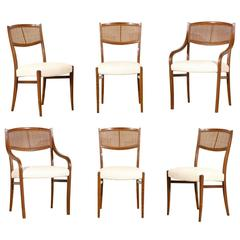 Regal Set of Six Walnut and Cane Dining Chairs
