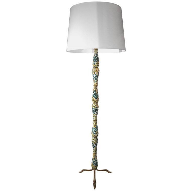 Italian Sculptural Ceramic and Brass Floor Lamp