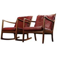 Ole Wanscher Rocking and Lounge Chairs in Red Leather