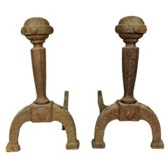 Pair of Arts & Crafts Period Forged Iron Banded Ball Top Andirons