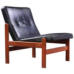 Danish Easy Chair in Black Leather by Jorgen Baekmark