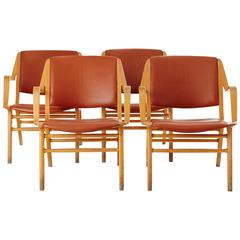 Set of Four Ax Easy-Chairs by Peter Hvidt and Orla Mølgaard-Nielsen