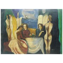 Painting (Seated Women with Nudes) Signed Bela Kadar, Hungary (1877-1955)