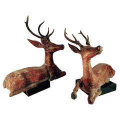 Rare Holiday Decor: Antique Hand-Carved Deer, 19th Century