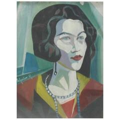 Portrait of an Elegant Woman, Signed Hugo Scheiber