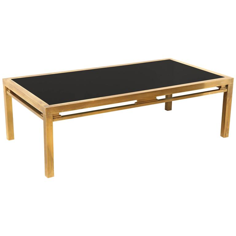Cb2 Mid Century Coffee Table: Mid-Century Modern Brass And Black Glass Coffee Table By
