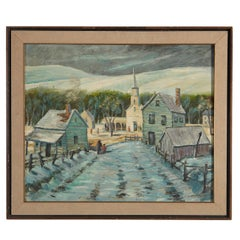 J. Picher, Vermont Village in Winter, 1962, Oil on Canvas