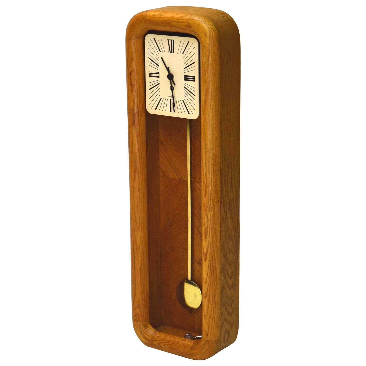 Mantel grandfather clock by arthur umanoff for howard miller for sale at 1stdibs - Wall hanging grandfather clock ...