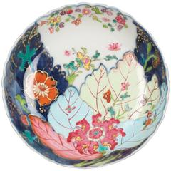 Small Chinese Porcelain Famille Rose Saucer with Tobacco Leaves, 18th Century