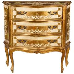 Painted Venetian Rococo Style Chest of Drawers, circa 1950s