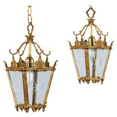 Pair of French Brass Lanterns, 1950s