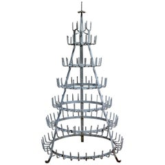 Large Painted Iron Bottle Tree, France, 1800s