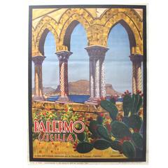 Original 1935 ENIT Travel Advertising Poster for Palermo Sicily 'Sicilia', Italy