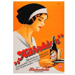 Original Vintage 1930s Art Deco Beer Poster For The Hackerbrau Brewery In Munich