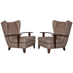 Rare Pair of Early Lounge Chairs by Gio Ponti