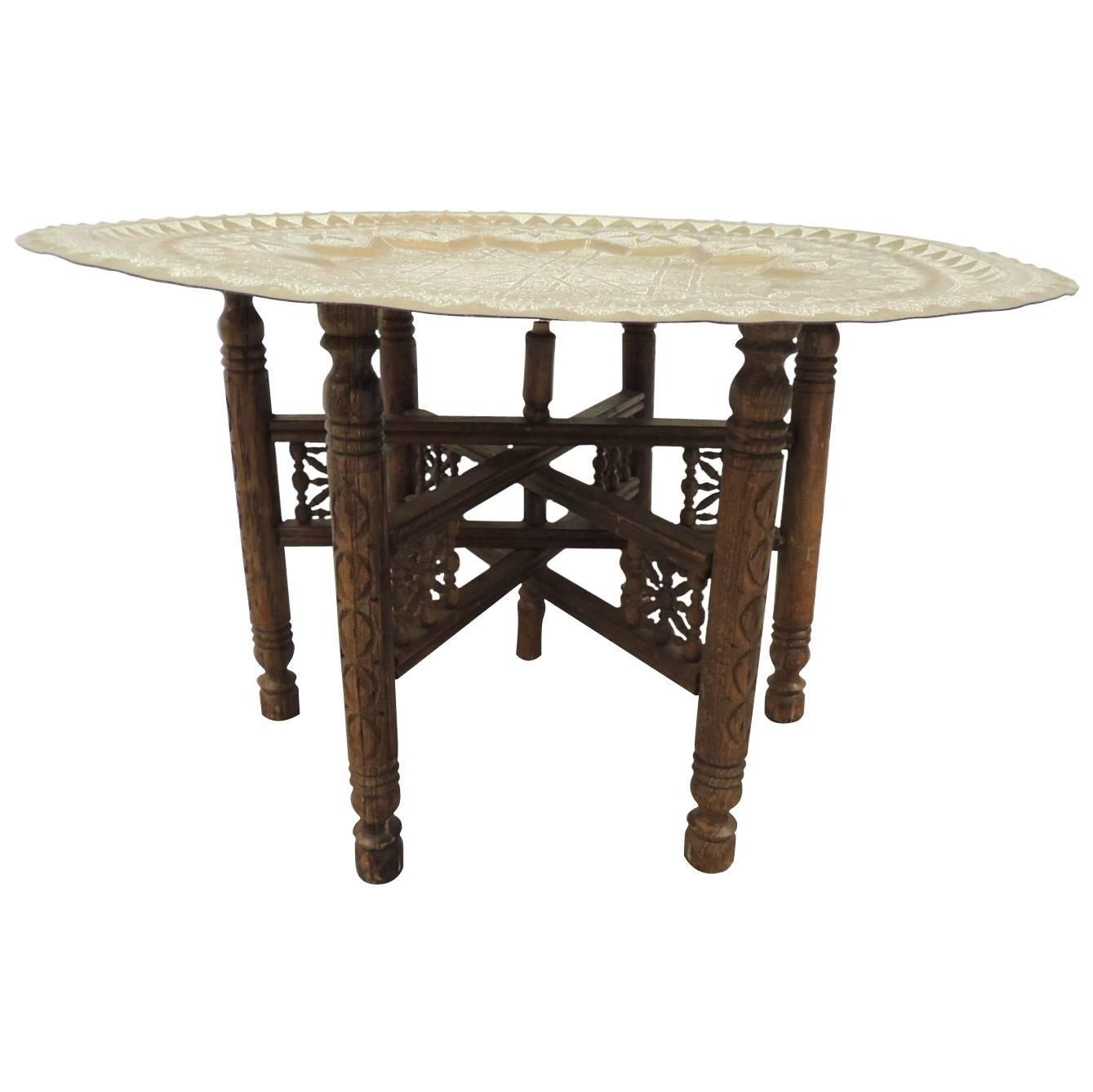 Large Round Hand Hammered Moroccan Tray Coffee Table For Sale At 1stdibs