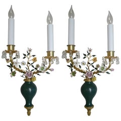 Pair of Louis XVI Style Bronze and Porcelain Sconces