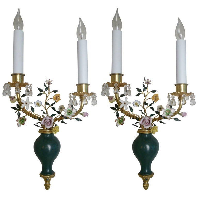Pair of Louis XVI Style Bronze and Porcelain Sconces