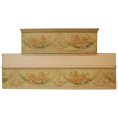 Two Antique French Painted Cherubs on Paper Mounted to Plywood Valences