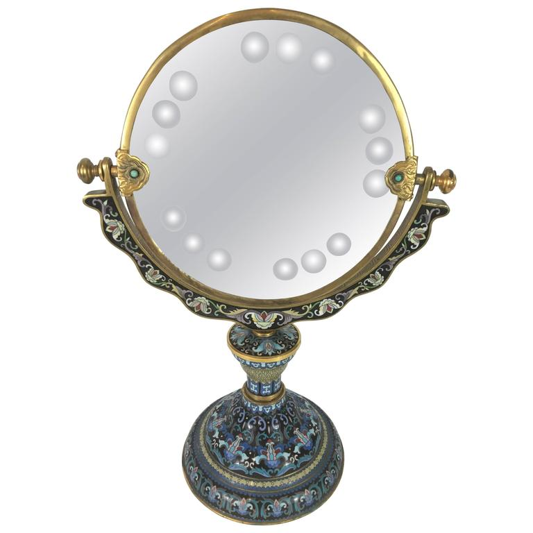 chinese cloisonn vanity mirror with engraved decoration at 1stdibs. Black Bedroom Furniture Sets. Home Design Ideas
