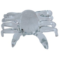 Modern Handmade Clear Glass Figure of a Sand Crab