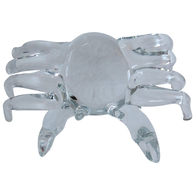 Modern Handmade Clear Glass Figure of a Sand Crab For Sale